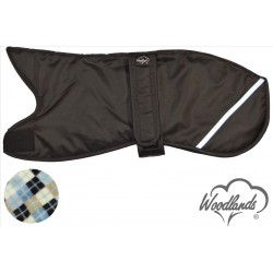 WOODLANDS BLACK WITH REFLECTOR STRIP WHIPPET COAT - ARGYLE CHECK LINING