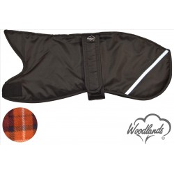 WOODLANDS BLACK WITH REFLECTOR STRIP WHIPPET COAT - BROWN CHECK LINING