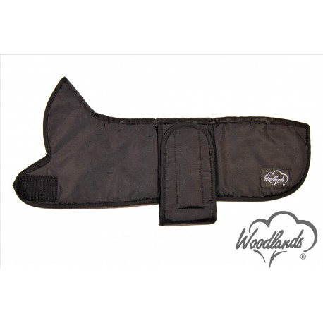 WOODLANDS BLACK DAXI DACHSHUND COAT - GREY SHERPA FLEECE LINING