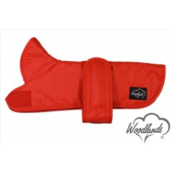 WOODLANDS RED DAXI DACHSHUND COAT - GREY SHERPA FLEECE LINING