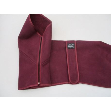 HI ZIPPED FUNNEL NECK GREYHOUND COAT BURGUNDY FAUX SUEDE