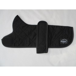 """18"""" ONLY DACHSHUND COAT BLACK QUILTED DRY WAX"""