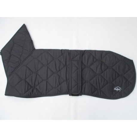 GREYHOUND COAT HI ZIPPED FUNNEL NECK BLACK QUILTED