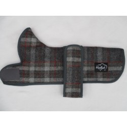 Woodlands Grey Checked Wool Dachshund Coat