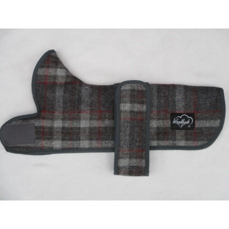 Woodlands Grey Checked Wool Dachshund Coat